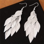 High Fashion Leaves Dangling Alloy Fashion Earrings - Silver