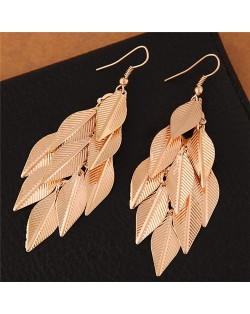 High Fashion Leaves Dangling Alloy Fashion Earrings - Golden