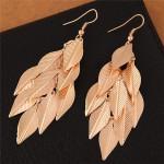 High Fashion Leaves Dangling Alloy Fashion Earrings - Golden