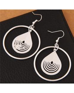 Graceful Waterdrop Inlaid Hoop Fashion Stud Earrings