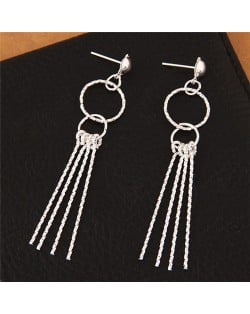 Linked Rings with Sticks Tassel Design Fashion Stud Earrings