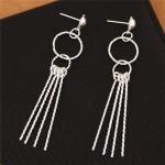 Linked Rings with Sticks Tassel Design Fashion Stud Earrings