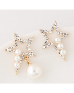 Czech Rhinestone and Pearl Embellished Asymmetric Lucky Star Fashion Earrings - White