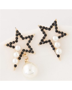 Czech Rhinestone and Pearl Embellished Asymmetric Lucky Star Fashion Earrings - Black