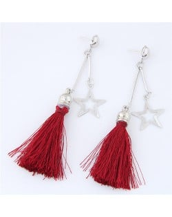 Alloy Star and Cotton Threads Tassel Stud Earrings - Red