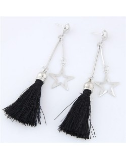 Alloy Star and Cotton Threads Tassel Stud Earrings - Black