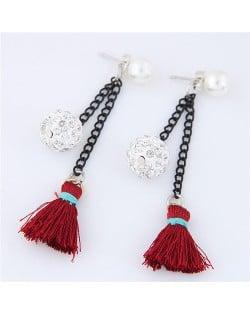 Rhinestone Inlaid Ball and Threads Tassel Pearl Stud Earrings - Red