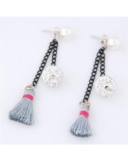 Rhinestone Inlaid Ball and Threads Tassel Pearl Stud Earrings - Gray