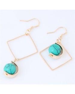 Turquoise Ball Inlaid Dangling Square Design Asymmetric Fashion Earrings - Blue