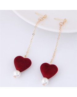 Fluffy Heart and Pearl Pendants Dangling Stud Earrings - Red