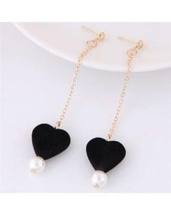 Fluffy Heart and Pearl Pendants Dangling Stud Earrings - Black