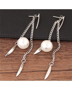Dangling Pearl and Leaves Tassel Fashion Earrings - Silver