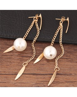 Dangling Pearl and Leaves Tassel Fashion Earrings - Golden