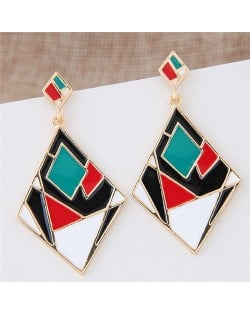 Contrast Colors Artistic Rhombus Fashion Stud Earrings - Green and Red