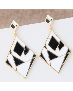 Contrast Colors Artistic Rhombus Fashion Stud Earrings - Black and White
