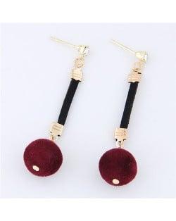Dangling Fluffy Ball High Fashion Stud Earrings - Red