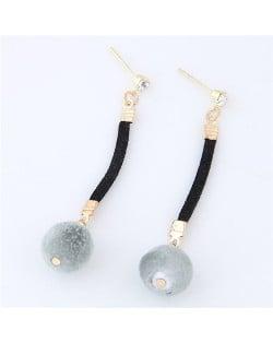 Dangling Fluffy Ball High Fashion Stud Earrings - Gray