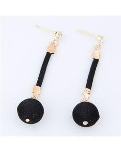 Dangling Fluffy Ball High Fashion Stud Earrings - Black