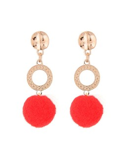 Dangling Shining Hoop and Fluffy Ball Fashion Stud Earrings - Red