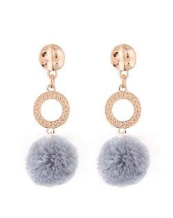 Dangling Shining Hoop and Fluffy Ball Fashion Stud Earrings - Gray