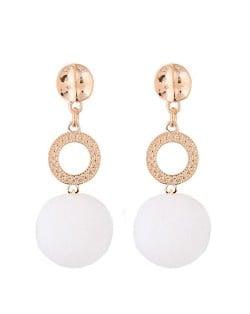 Dangling Shining Hoop and Fluffy Ball Fashion Stud Earrings - White