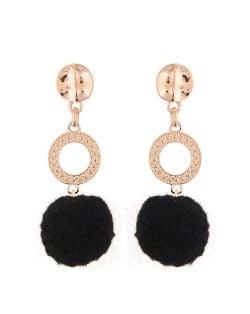 Dangling Shining Hoop and Fluffy Ball Fashion Stud Earrings - Black