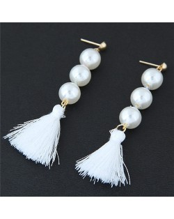 Pearl Cluster and Thread Tassel Design Fashion Stud Earrings - White