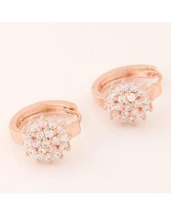 Luxurious Cubic Zirconia Sweet Flower Korean Fashion Ear Clips - Rose Gold