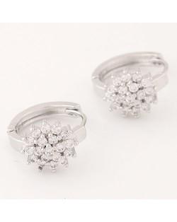Luxurious Cubic Zirconia Sweet Flower Korean Fashion Ear Clips - Silver