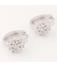 Luxurious Cubic Zirconia Sweet Flower Korean Fashion Ear Clips - Silver