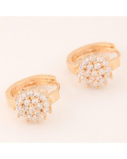 Luxurious Cubic Zirconia Sweet Flower Korean Fashion Ear Clips - Golden