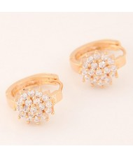 Luxurious Cubic Zirconia Sweet Flower Korean Fashion Ear Clips - Golden