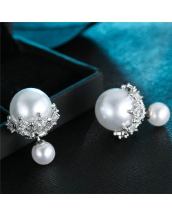 Pearl Inlaid Delicate Hollow-out Floral Tray Decoration Design Fashion Stud Earrings