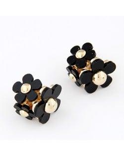 Korean Fashion Sweet Black Plum Blossom Ear Studs