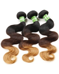 3 Bundles 100% Human Hair Body Wave Color T1B/4/27 Brazilian Virgin Hair Weaves/ Wefts