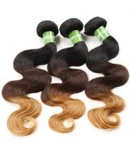 3 Bundles 100% Human Hair Body Wave Color T1B/4/27 Brazilian Virgin Hair Weaves/ Wefts
