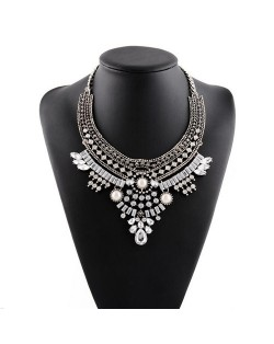Graceful Rhinestone and Gems Waterdrops Design Women Collar Fashion Necklace