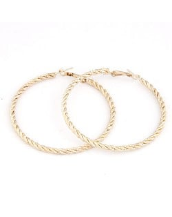Fashion Twisted Big Hoop Earrings - Golden
