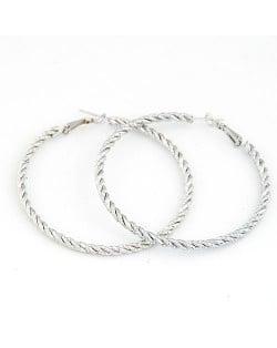 Fashion Twisted Big Hoop Earrings - Silver
