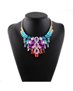 Luxurious Rhinestone Cluster Floral Fashion Chunky Women Statement Necklace - Multicolor