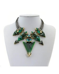 High Fashion Gems Combined Floral Style Chunky Chain Costume Necklace - Green