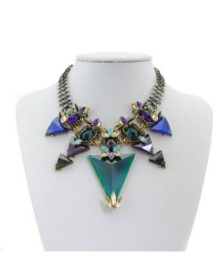 High Fashion Gems Combined Floral Style Chunky Chain Costume Necklace - Blue