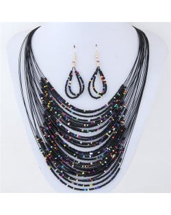 Contrast Colors Beads Fashion Multi-layer Costume Necklace and Earrings Set - Black