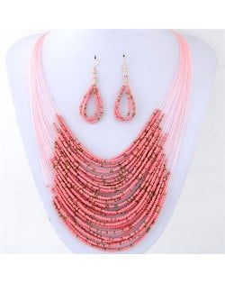 Contrast Colors Beads Fashion Multi-layer Costume Necklace and Earrings Set - Pink
