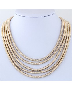 High Fashion Multi-layers with Magnetic Lock Rope Costume Necklace - Golden