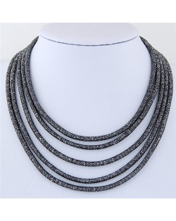 High Fashion Multi-layers with Magnetic Lock Rope Costume Necklace - Black