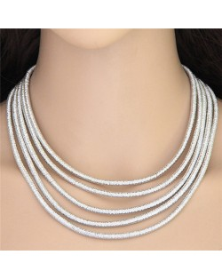 High Fashion Multi-layers with Magnetic Lock Rope Costume Necklace - Silver