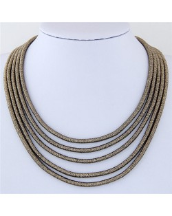 High Fashion Multi-layers with Magnetic Lock Rope Costume Necklace - Blackish Golden