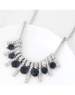 Rhinestone Inlaid Bars Snake Chain Fashion Costume Necklace - Ink Blue