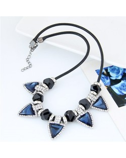 Rhinestone Embellished Ink Blue Glass Triangles Rope Fashion Necklace